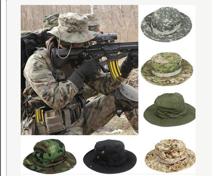 Fashion-Camouflage-Military-Hat-With-Wide-Brim-Boonie-Sun-Fishing-Bucket-Camping-Hunting-Hat