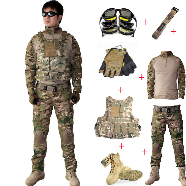 Men-s-Tactical-font-b-Airsoft-b-font-Combat-Gear-Package-of-7-PCS-T-shirt